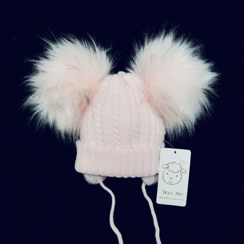 Gorgeous Baby Girl Pink Double Pom Hat with Tie